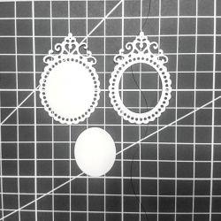 # 9є - Set de tăiere, cadru-medalion-oval.