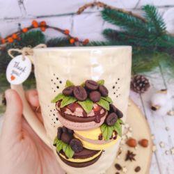 Pasta. Polymer clay mug decor