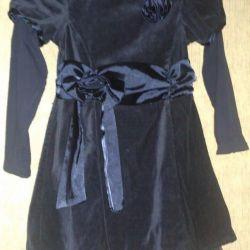 dress elegant velvet, sleeves knit