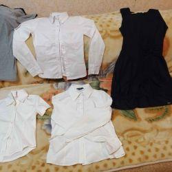 School uniform set. Dark blue sundress + 3 blouses