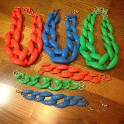 Plastic bracelet and necklace