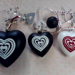 Christmas decorations in the shape of hearts.