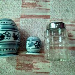 Συσκευές αναδευτήρων αλατιού και αναδευτήρες πιπεριού, πορσελάνη, γυαλί, ΕΣΣΔ