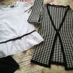 Μια νέα μπλούζα, σακάκι και φούστα r. Xs