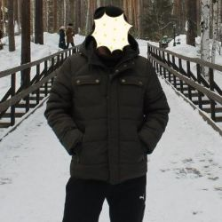 Jacket man's with a hood a green down-padded coat