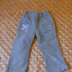 Pantolon kadife 92 times-p, bir kız için (pazarlık yok)