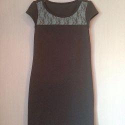 Платье серое с голубым гипюром 9-10лет
