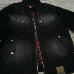 Denim jacket on a woolen lining.