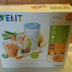 Avent containers for storing baby food