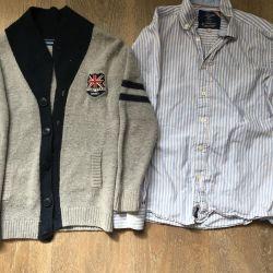 Комплект фирменный рубашка и кардиган 12 лет 152см