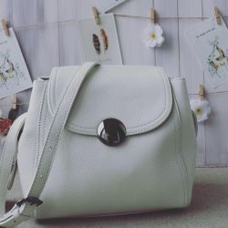 New beige leather bag