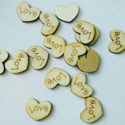 Inimă copac cu inscripție Dragoste 2 cm
