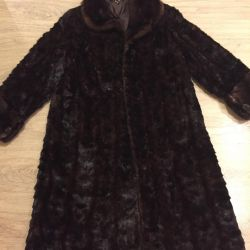 Fur coat of mink pieces.