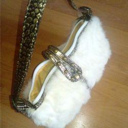 Small rabbit fur bag 17 x 25 cm