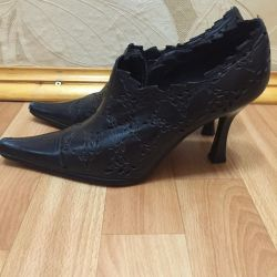 Shoes black genuine leather 37 r