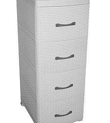 Dresser 4 tier Rattan without decor white