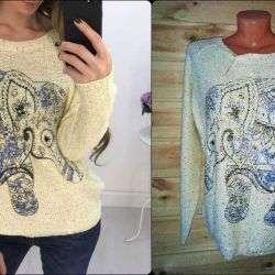 sweater with sequins and an elephant pattern
