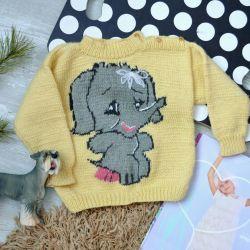 Παιδικό πλεκτό πουλόβερ για 1-2 χρόνια