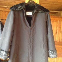 Jacket negru pe blana artificiala de dimensiuni 48-50