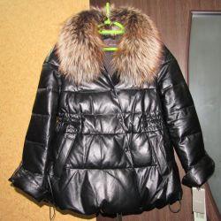 Италия Кожаный пуховик куртка 46-48