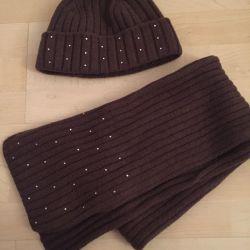 Комплект шапка+шарф 100% шерсть