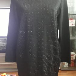 Designer black short dress in rhinestones