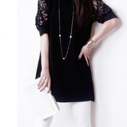 Dress-tunic with short sleeves-puffs