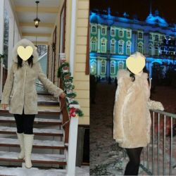 Mouton fur coat with a hood size 46