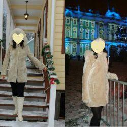 Mouton γούνινο παλτό με μέγεθος κουκούλας 46