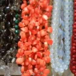Beads from a coral. Color pink, orange, color cowberry