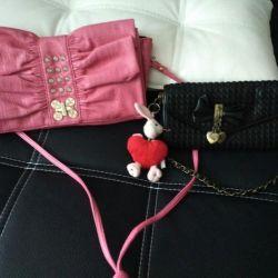 Clame, o geantă de mână și o geantă termo-sac
