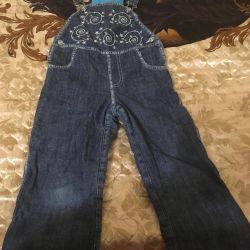 Denim overalls on fleece
