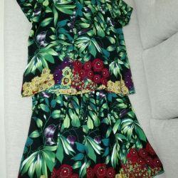 Suit summer 54- 56 size (skirt, blouse)