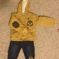 Bir çocuk için kış kıyafeti.
