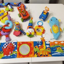 rattles, toys, arc