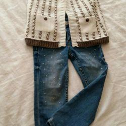 Jeans + cardigan 98r-p