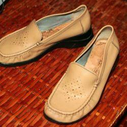Pantofi din piele bej confortabil în piciorul larg P 37