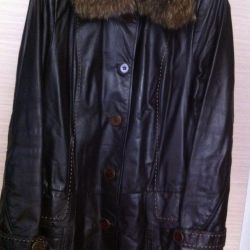 Leather jacket with raccoon collar