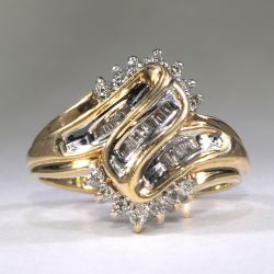 Ring with diamonds 17 size Italy