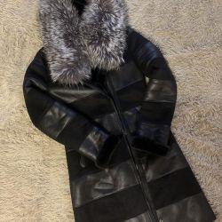 Gümüş tilki kürkü ile koyun derisi ceket