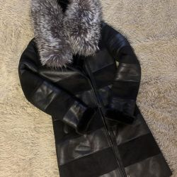 Sheepskin coat with silver fox fur