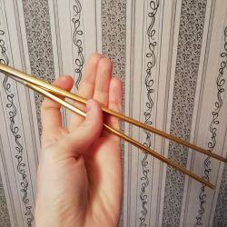 Палочки для суши. Металлические. Золотистые.