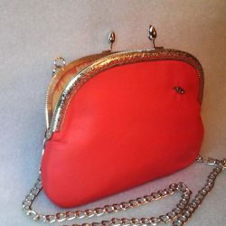 Leather Handbag Coral (Handmade)