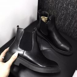 Eco leather boots black