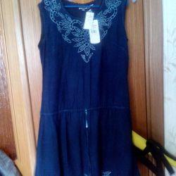 Сукня з вишивкою Рішельє колір джинс р.46