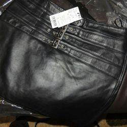 Новая юбка из натуральной кожи Индия mango