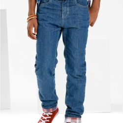 New blue jeans on the flannel for small. height 170
