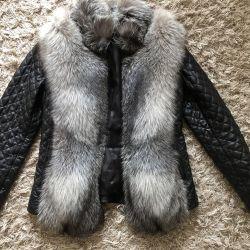 Leather jacket / waistcoat with beige fur size M