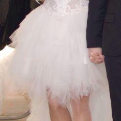 Wedding dress shortened in front + veil