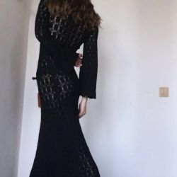 knitted by hand a black long dress unique